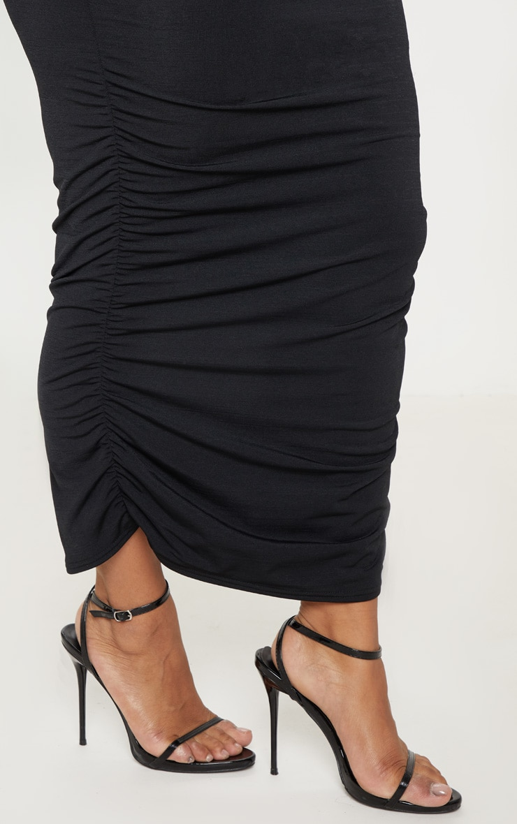 Plus Black Slinky Ruched Midi Skirt 5