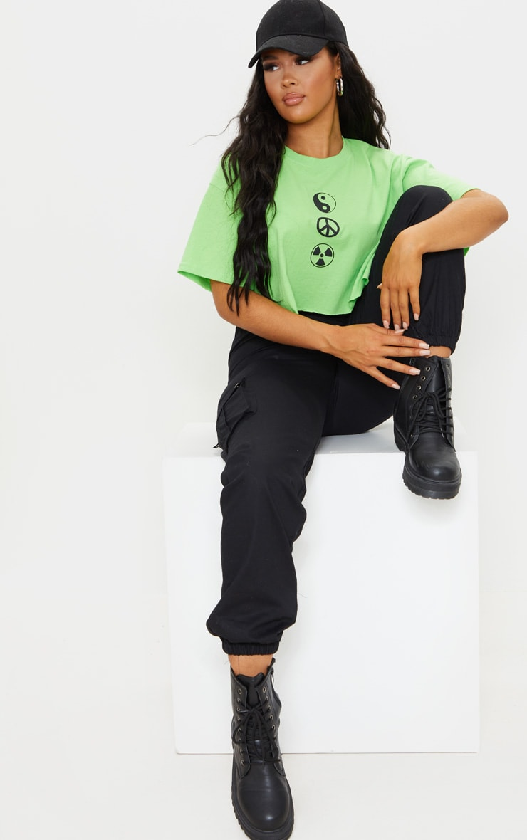 Lime Green Symbol Printed Crop T Shirt 3