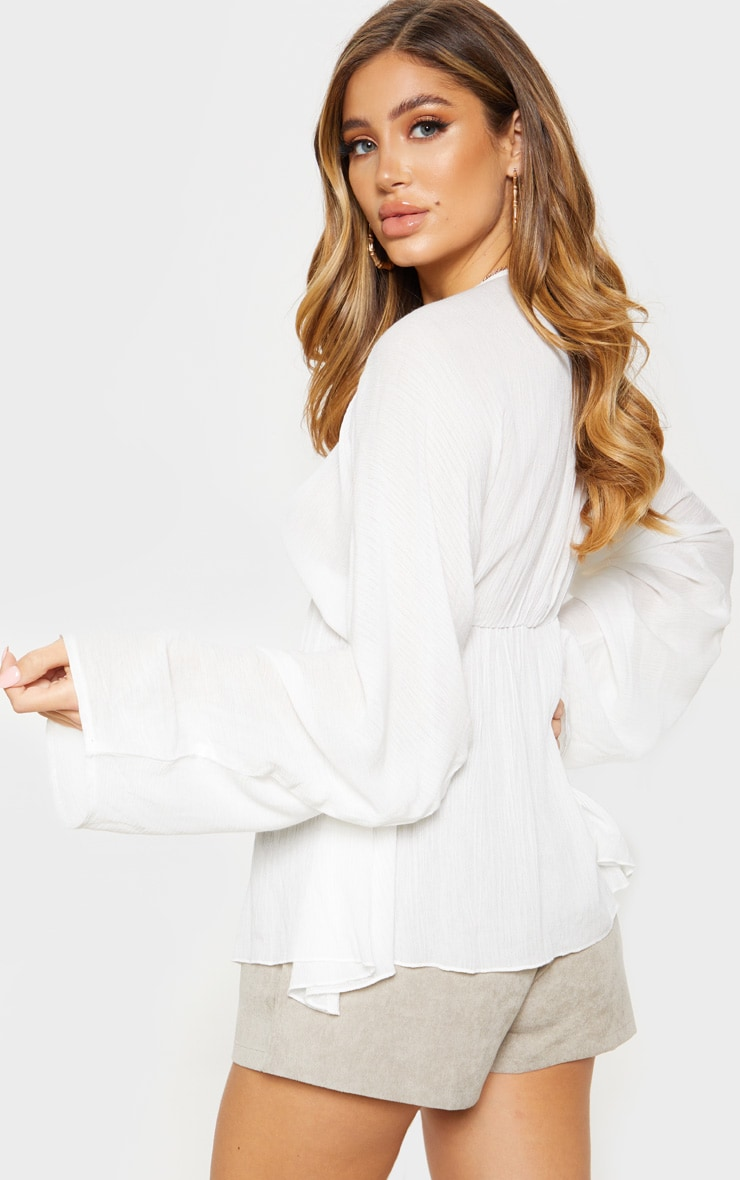 White Cheesecloth Plunge Ruched Sleeve Top 2