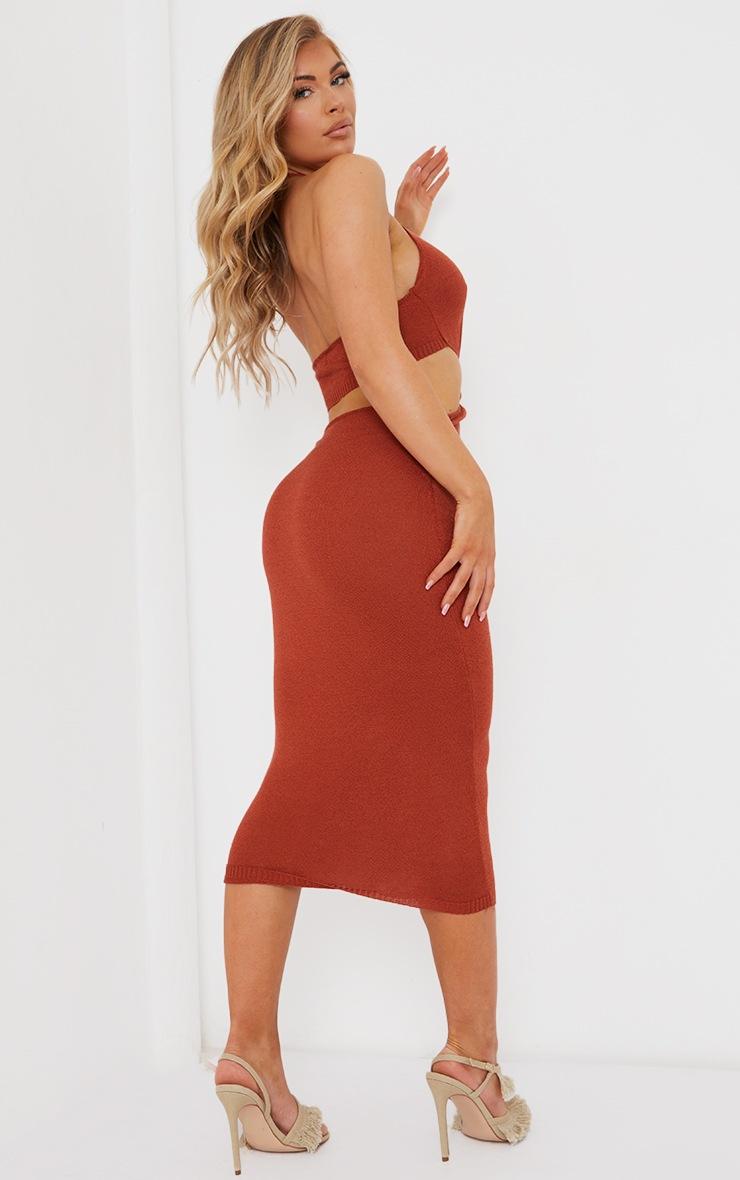 Rust Sheer Knit Twist Cut Out Midi Dress 2