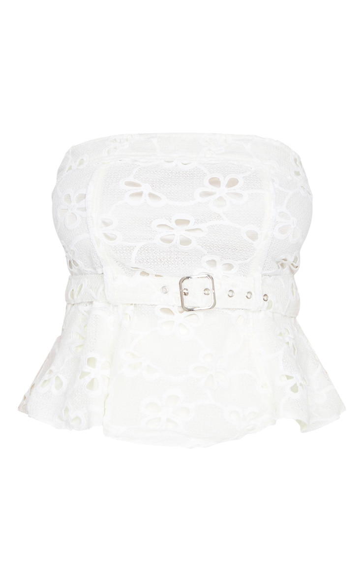 Plus White Floral Embroidered Belt Detail Top 4