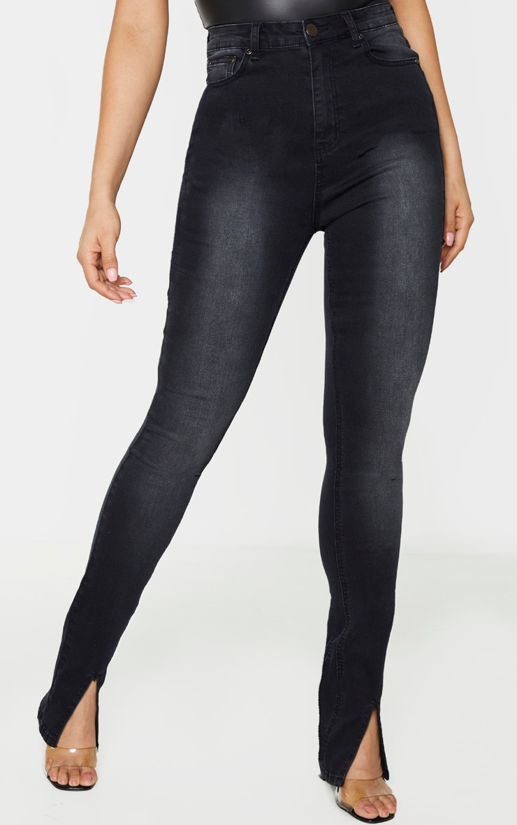Tall Black Split Front Skinny Jeans 2
