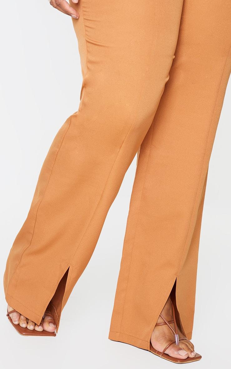 Plus Camel Seam Front Woven Split Hem Trousers 4