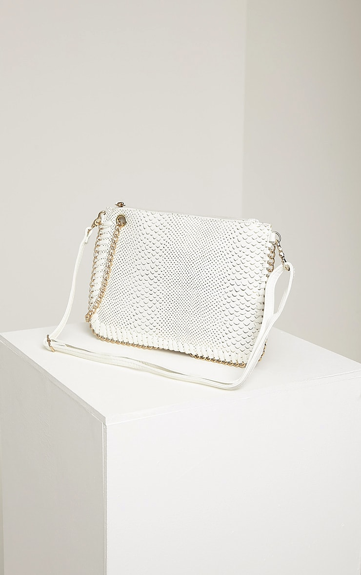 Milly White Snake Print Chain Clutch 4