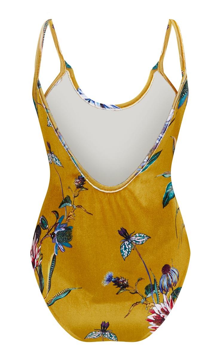 Mustard Printed Velvet Drop Back Thong Bodysuit 4