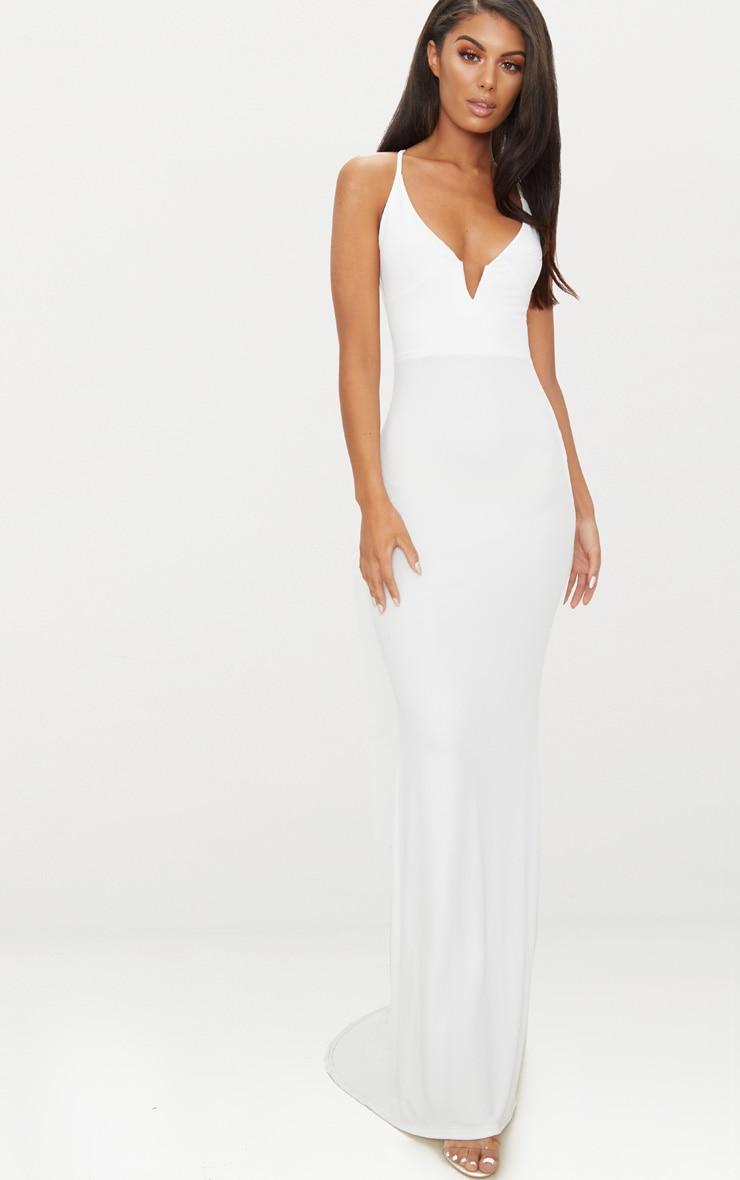 73901444c28 White V Bar Backless Maxi Dress image 1