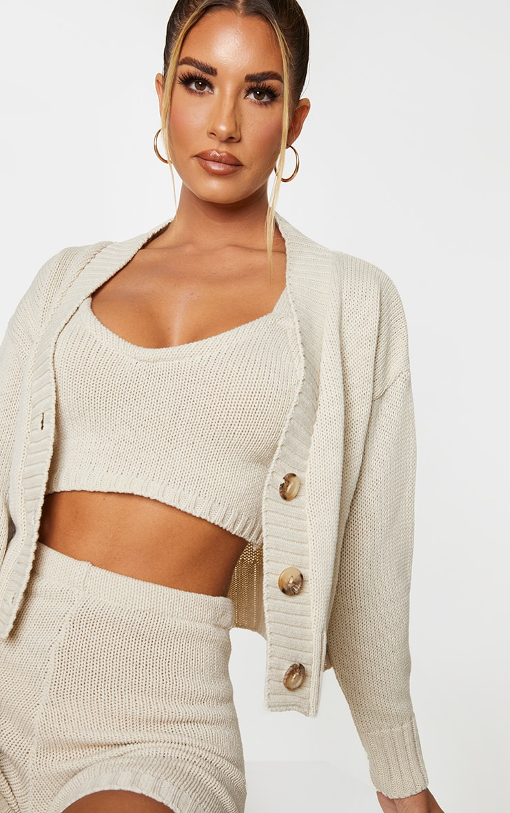 Cream Knitted Button Crop Cardigan 4