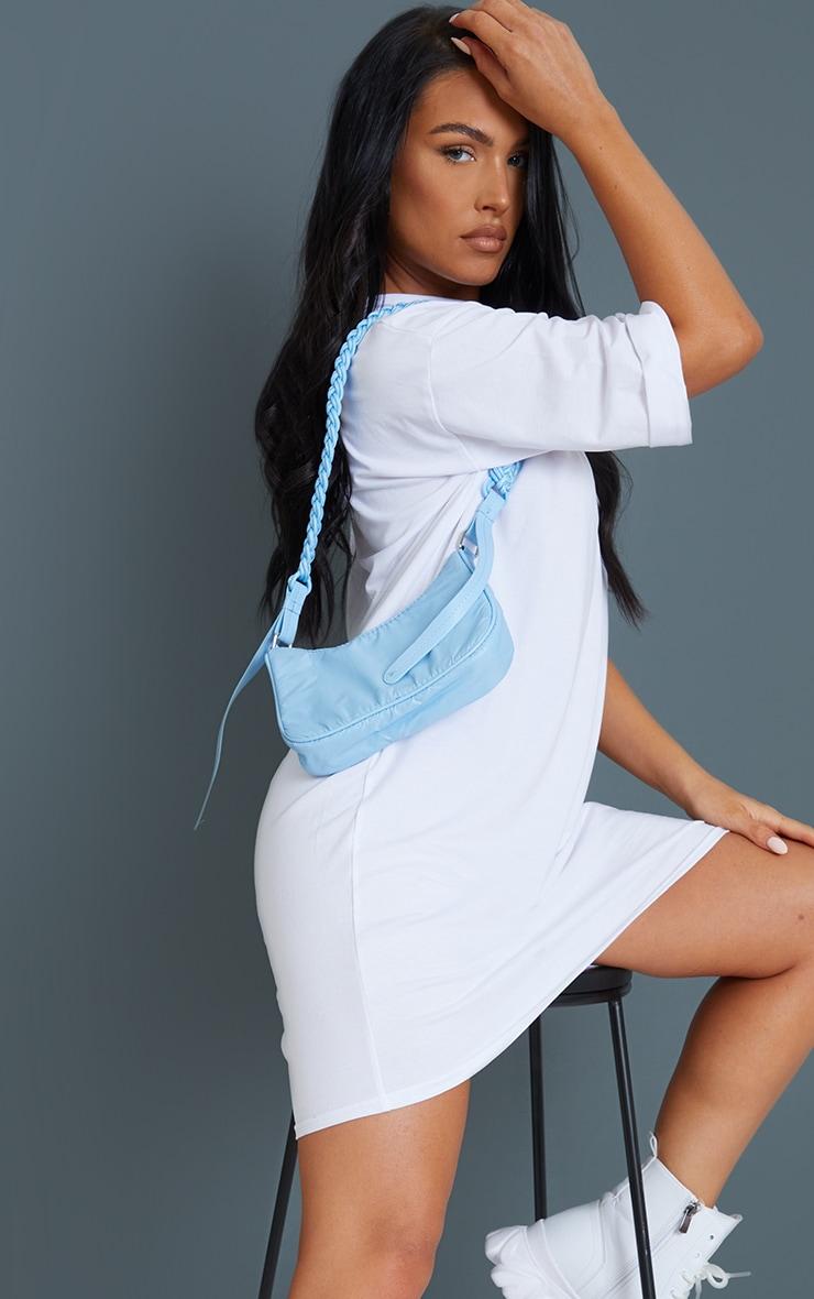 Baby Blue Weave Handle Shoulder Bag 1