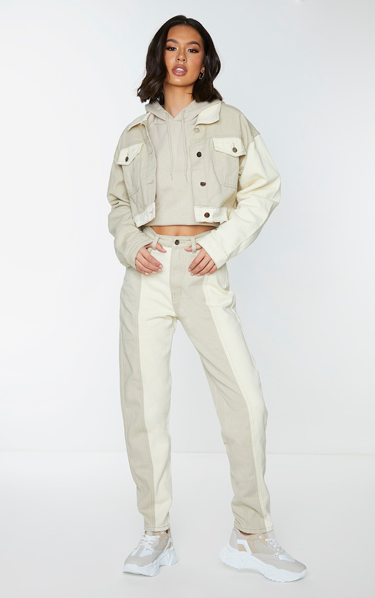 Cream Two Tone Contrast Mom Jeans 1