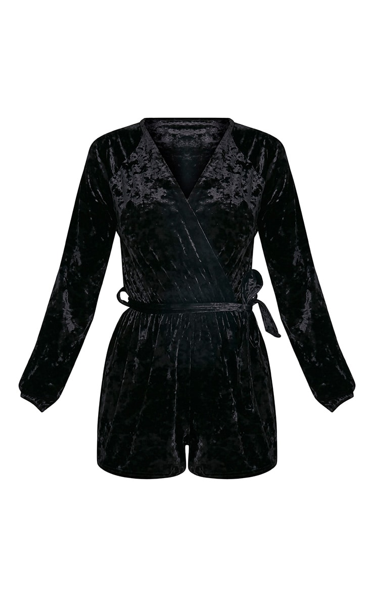 Caralea Black Crushed Velvet Wrap Front Playsuit 3
