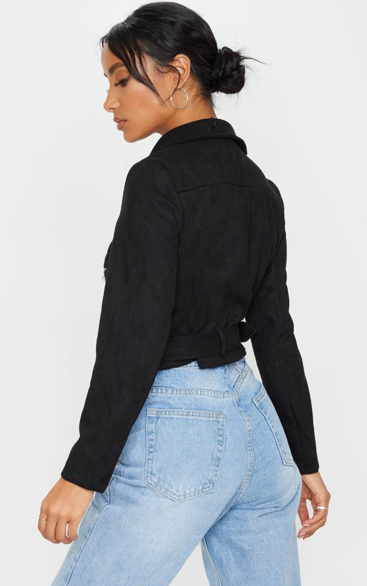 Black Faux Suede Pocket Detail Biker Jacket 2