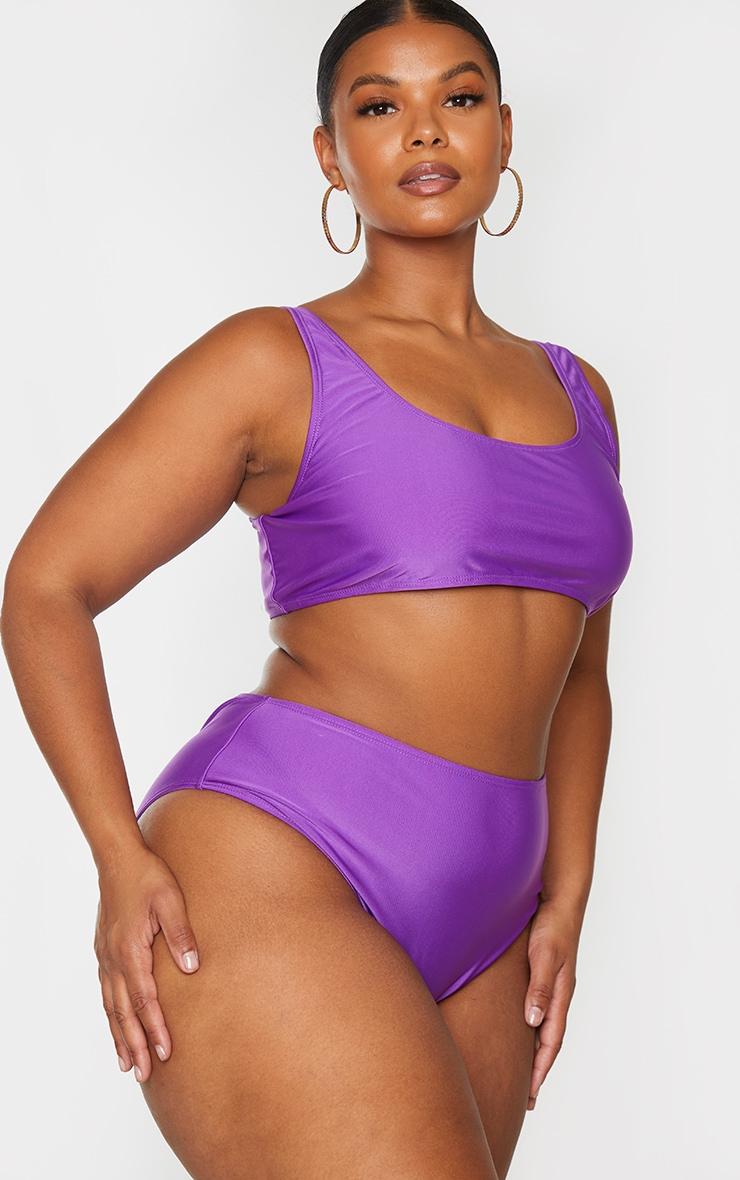 Plus Purple Basic High Waisted Bikini Bottoms 2