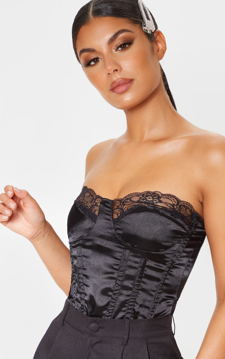 Black Lace Trim Satin Corset 4