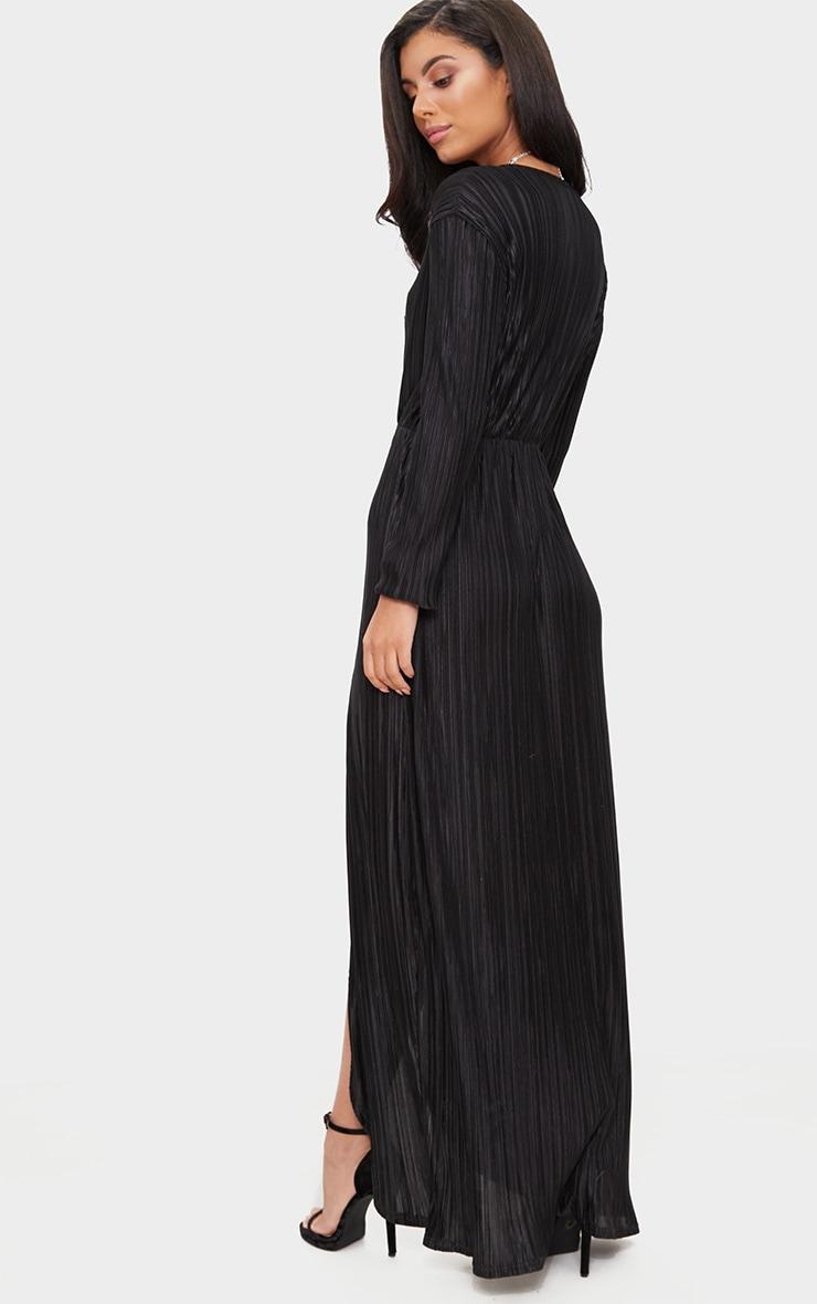 Black Pleated Wrap Front Long Sleeve Maxi Dress 2