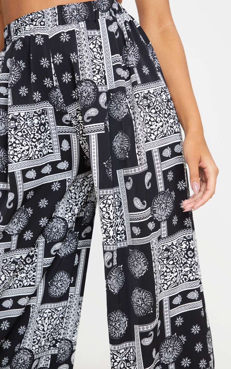 Black Scarf Printed Palazzo Trousers 4