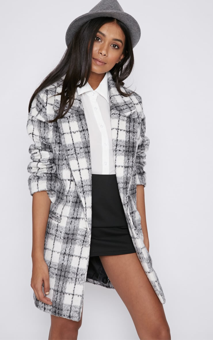 Ramsha Grey Checked Boyfriend Coat 5