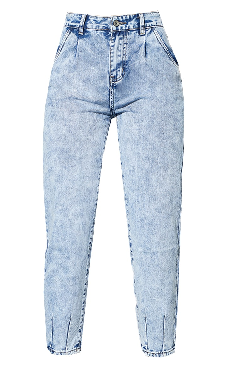 Acid Blue Wash Seam Detail Mom Jeans 5