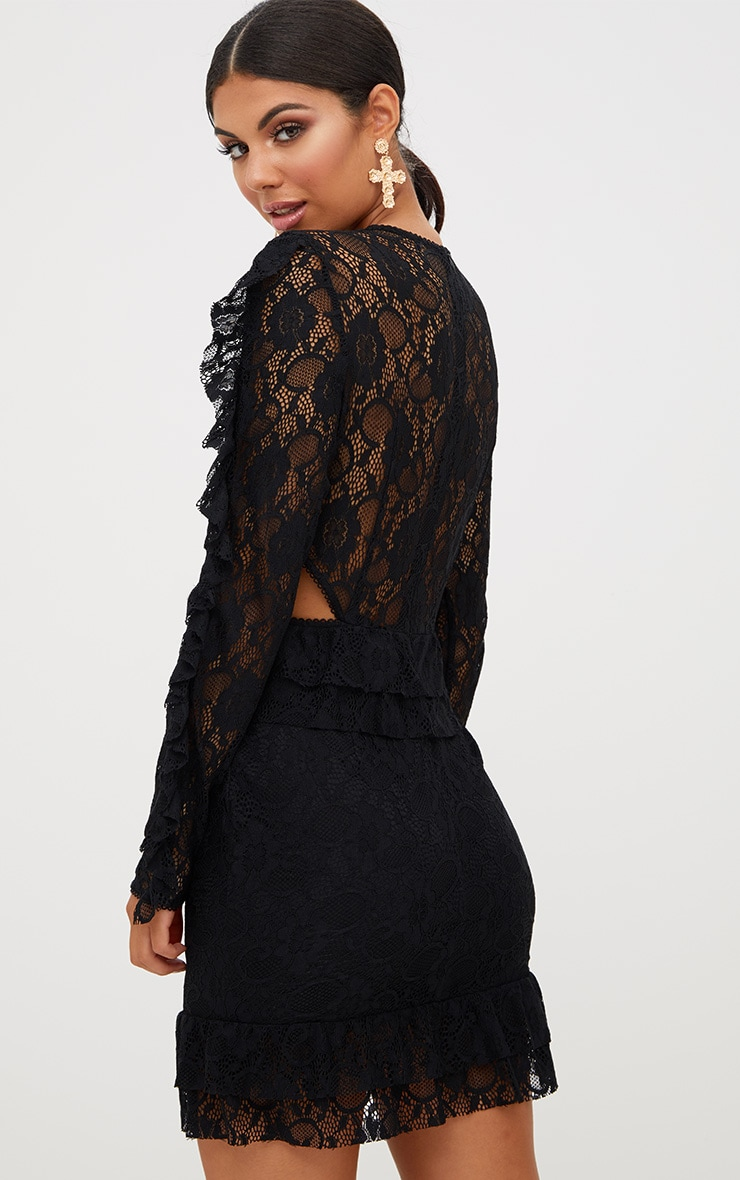 Black Lace Ruffle Detail Bodycon Dress 2