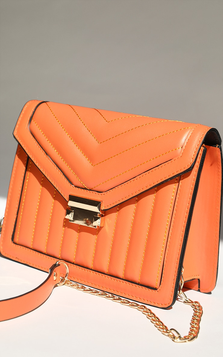 Orange Vertical Quilted Cross Body Bag 2