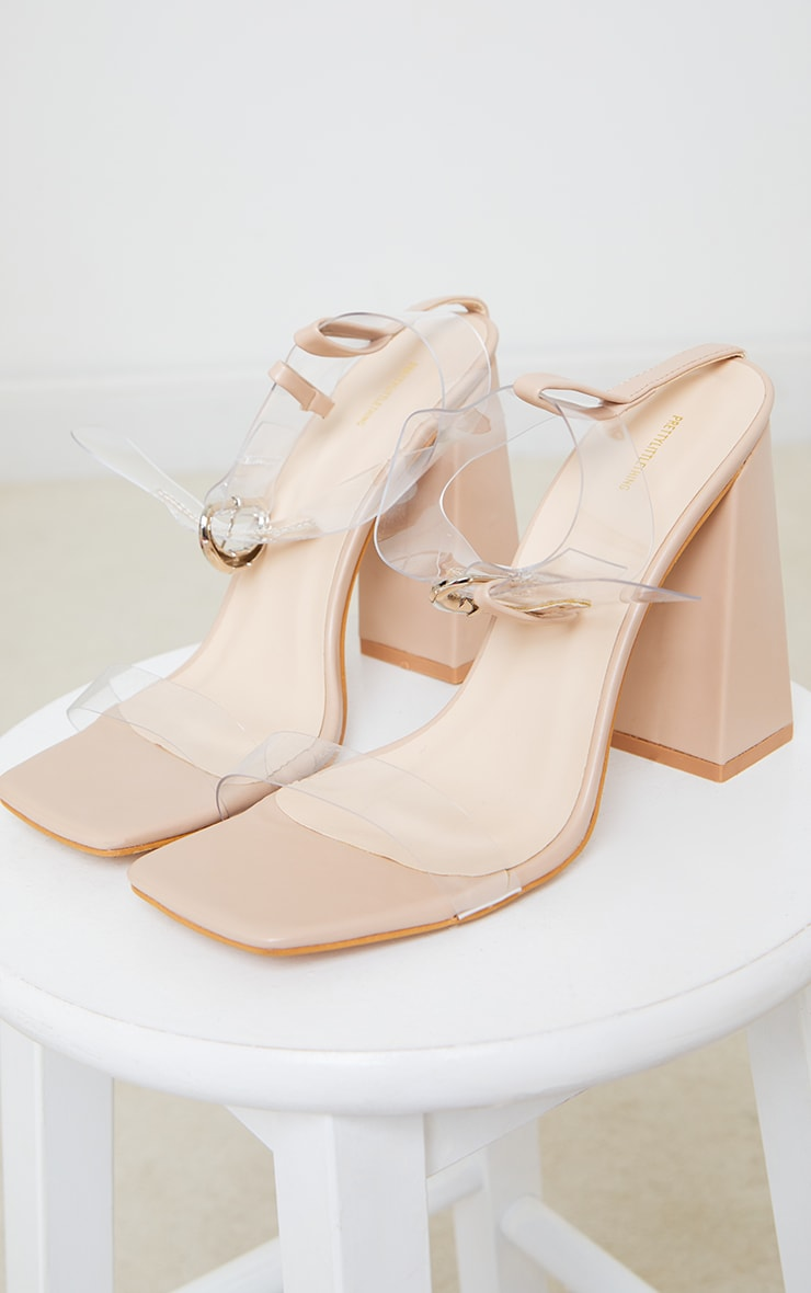 Nude PU Clear Strap Ankle Detail Block High Heels 3