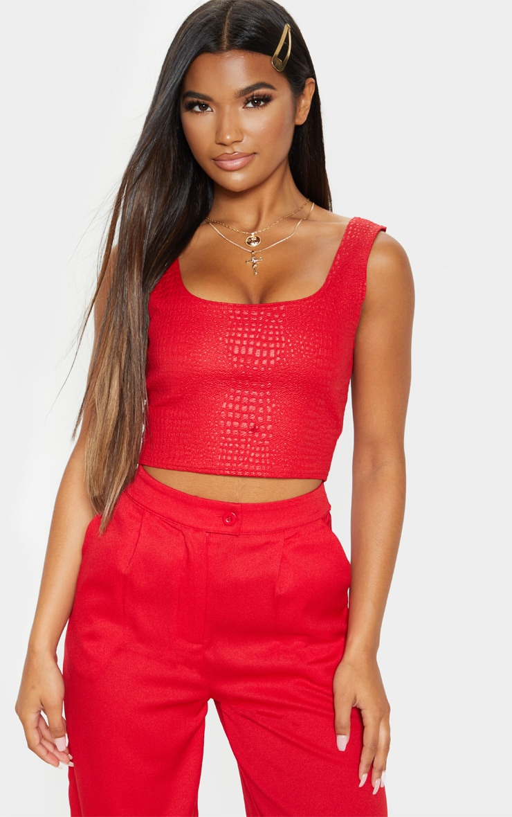Red Crepe Textured Crop Top  1