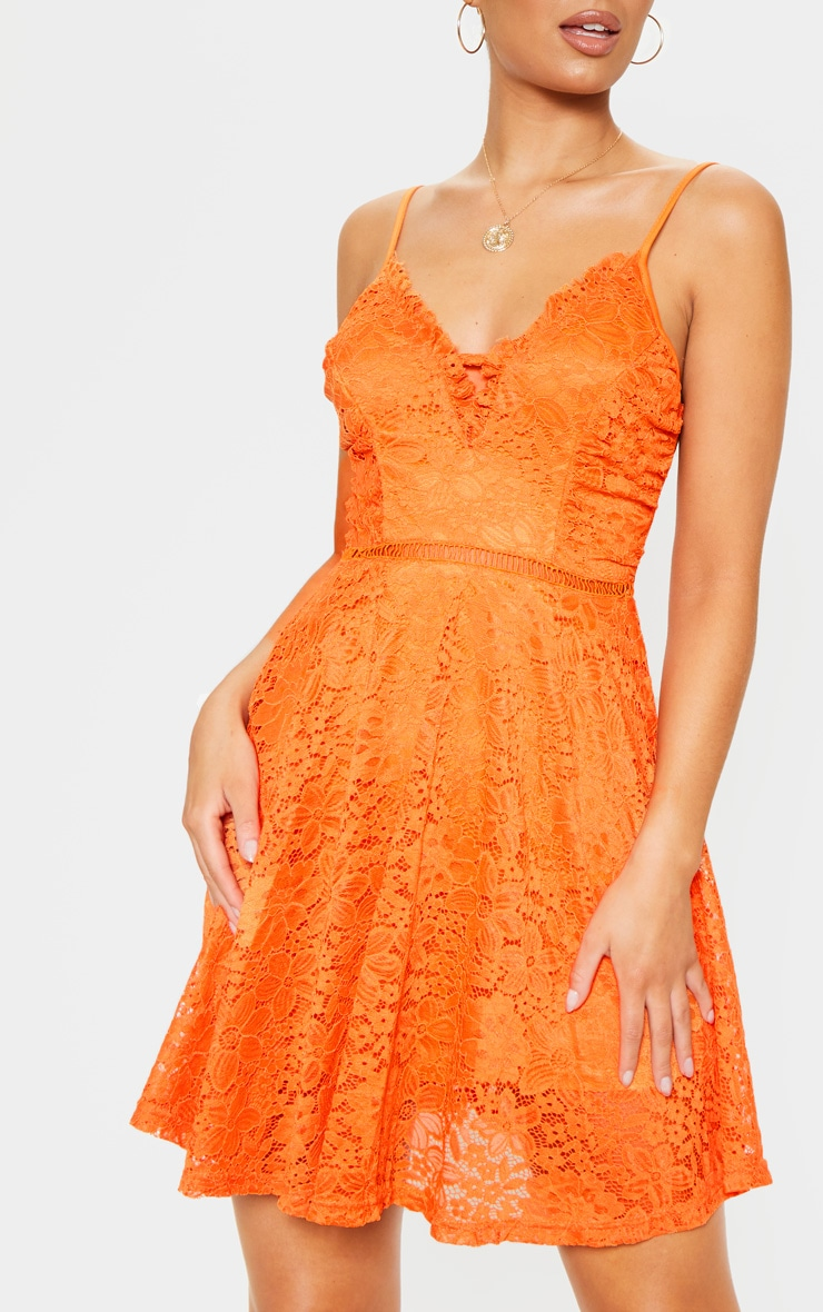 Bright Orange Lace Ruffle Detail Plunge Skater Dress 4