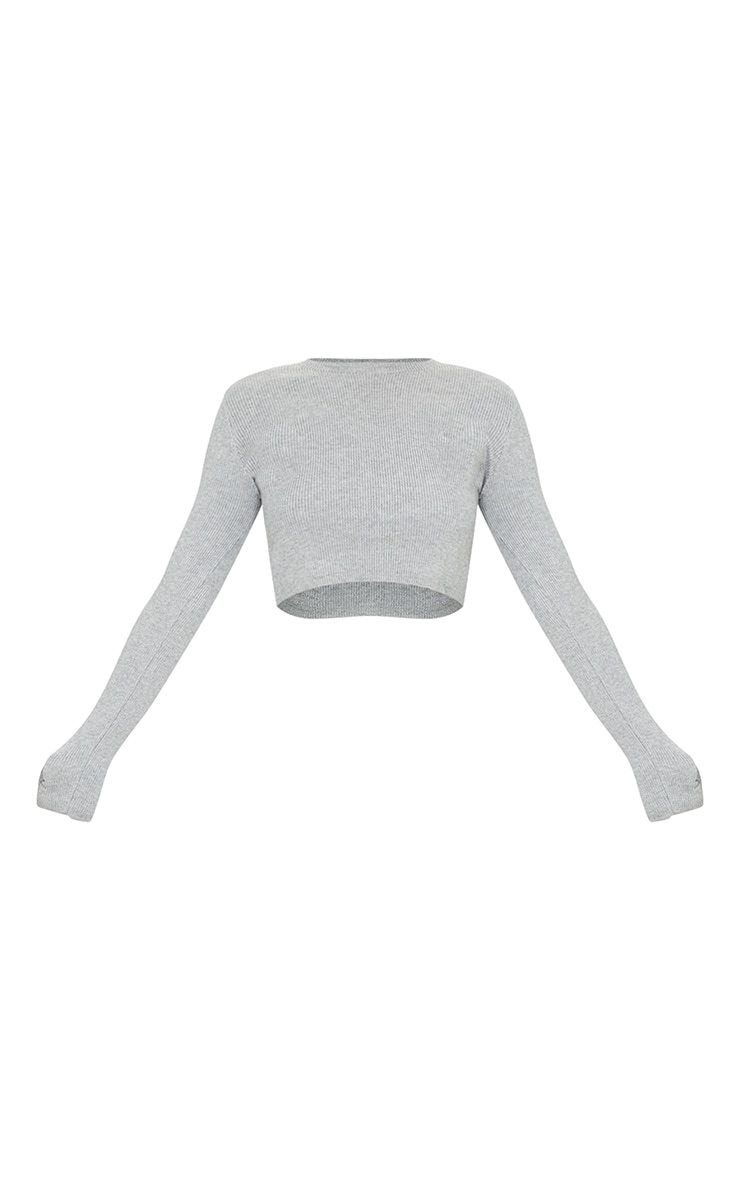 Grey Crew Neck Sweater With Thumb Holes 5