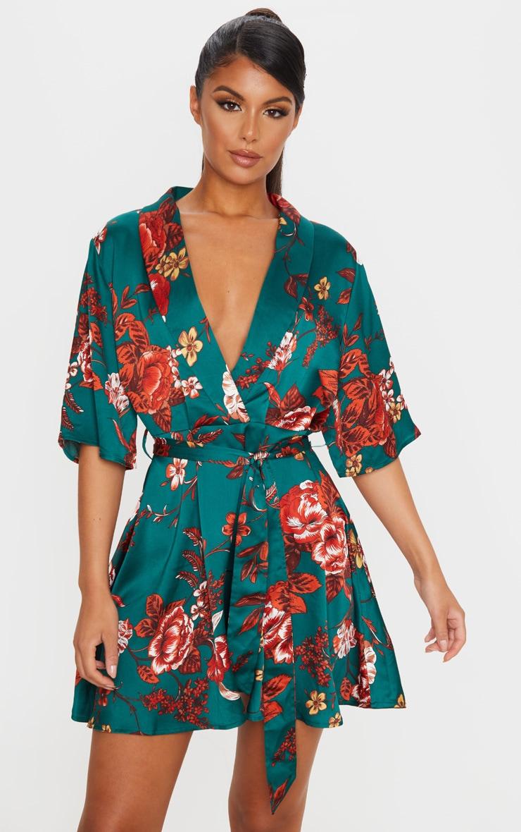 Emerald Green Floral Print Tea Dress 1