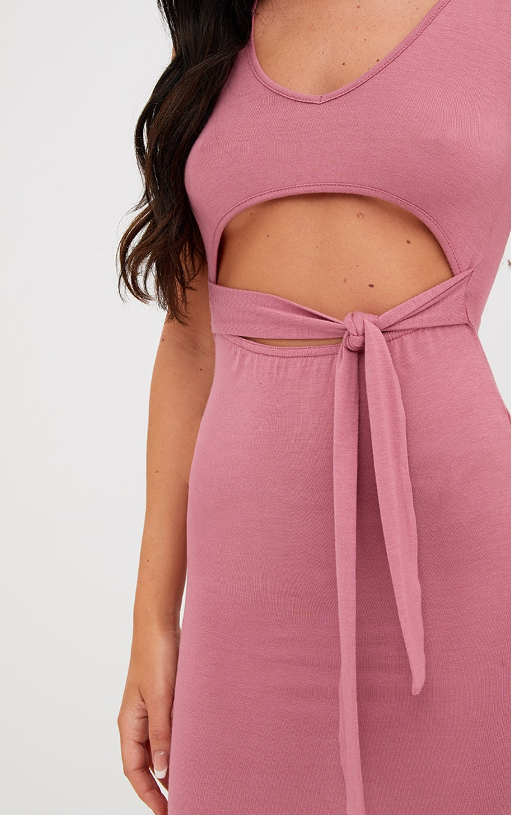Rose Cut Out Tie Front Midi Dress 5