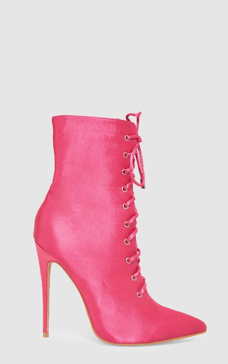 Pink Satin Lace Up Heeled Boot 3