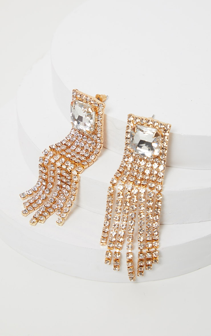 Gold Square Crystal Diamante Tassel Statement Earring 2