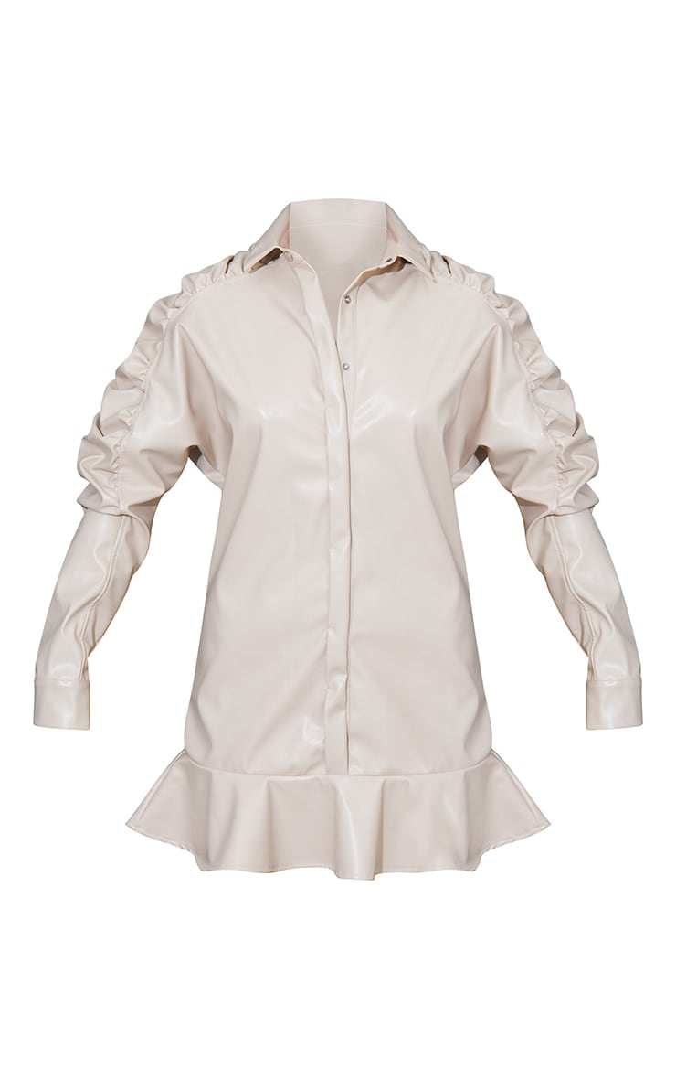 Cream Faux Leather Ruched Sleeve Frill Hem Shift Dress 5