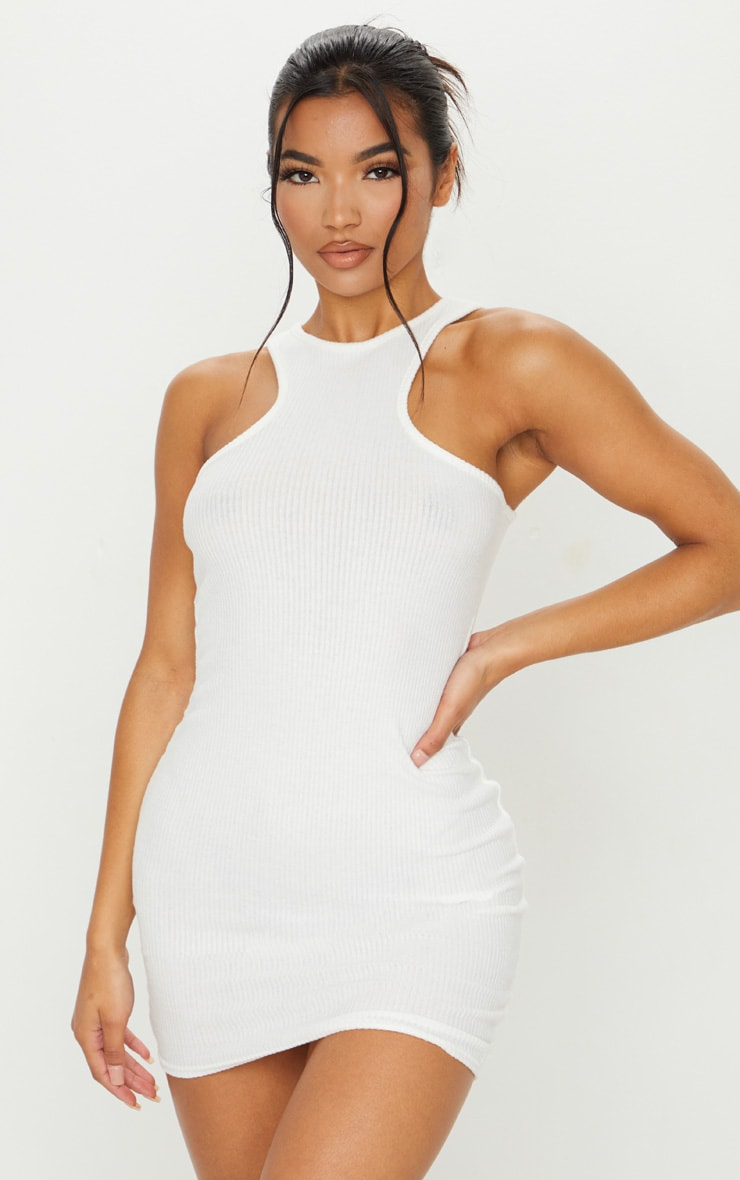 White Brushed Rib Racer Neck Bodycon Dress 1