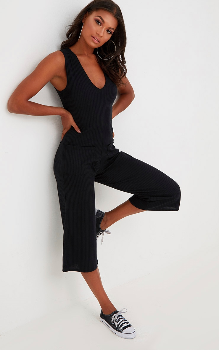 da06eabd193 Black Ribbed Culotte Pocket Jumpsuit. Jumpsuits