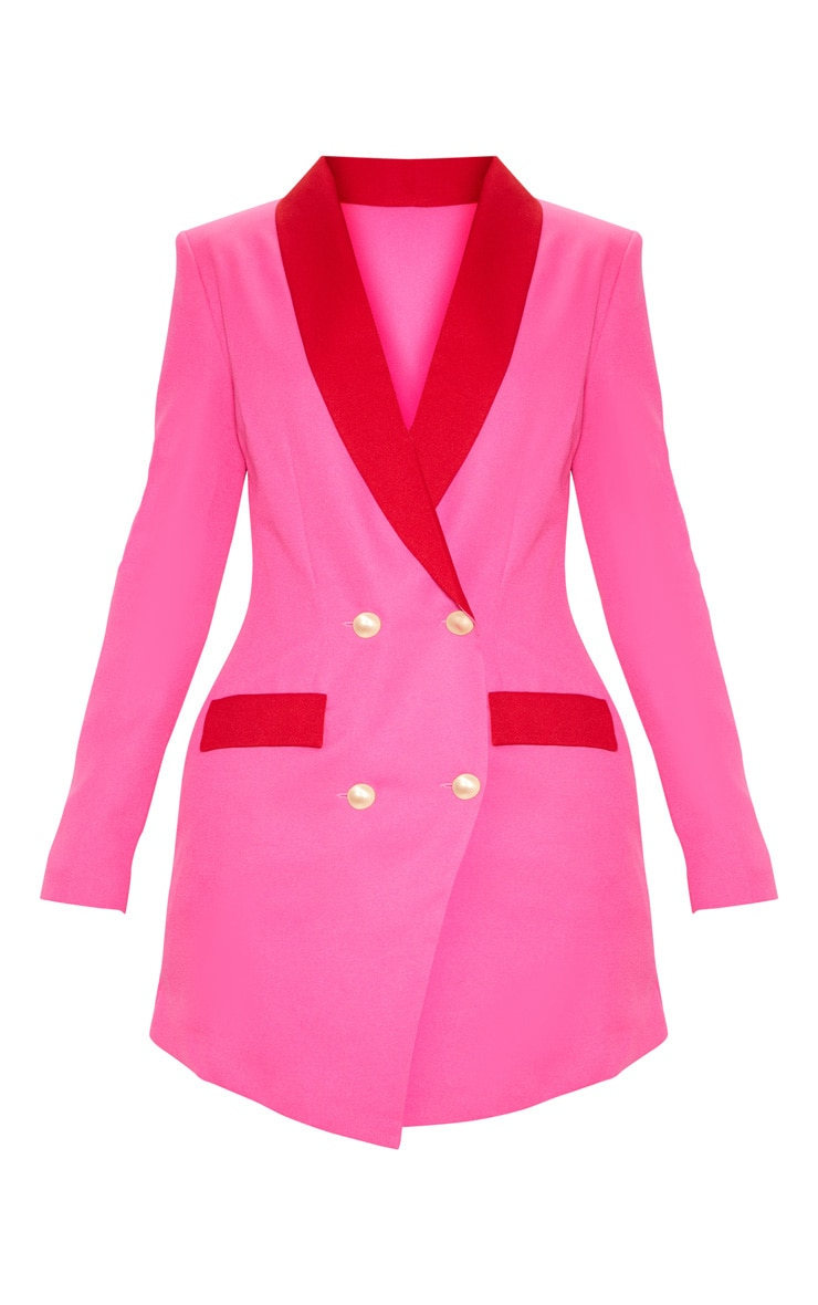 Hot Pink Gold Button Contrast Blazer Dress 3