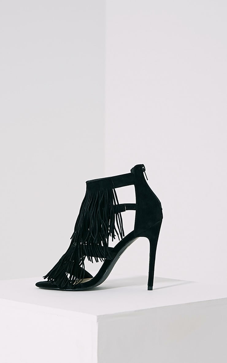 Taysa Black Tassel Heeled Sandals 4