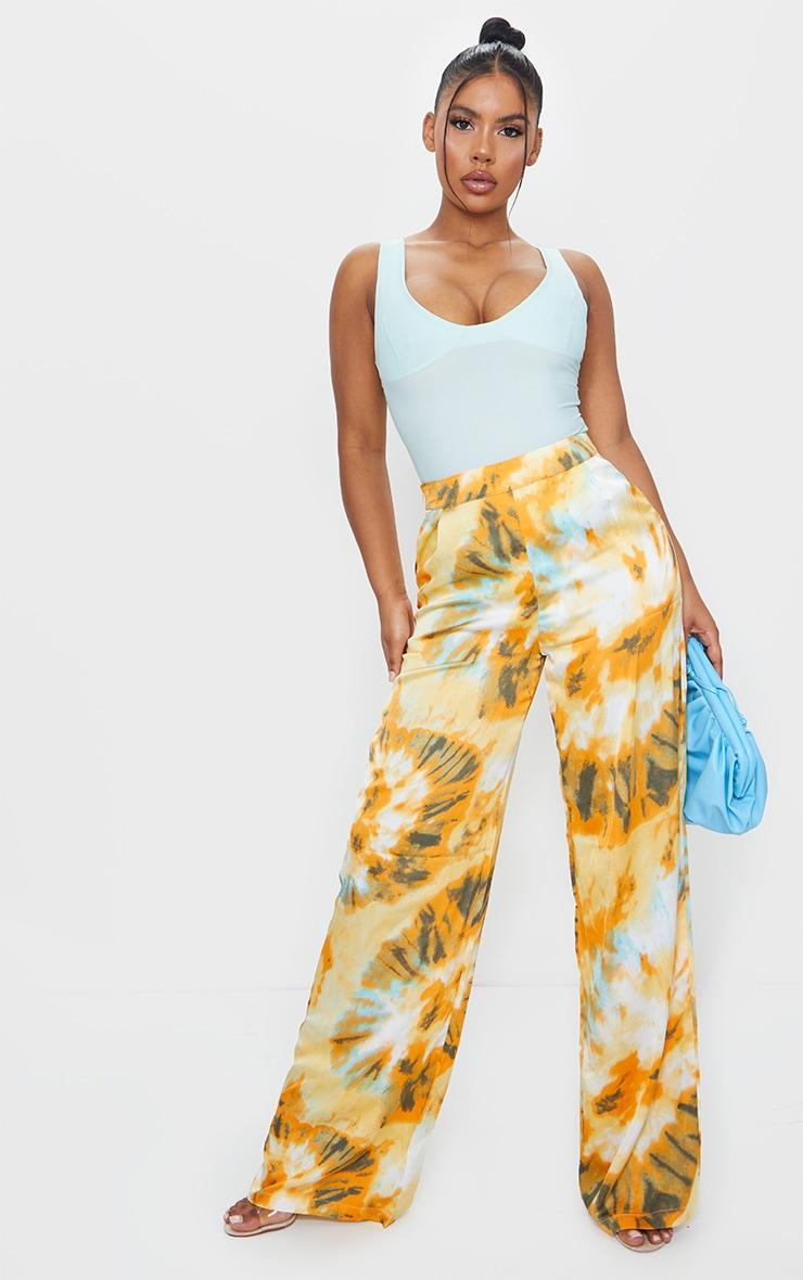 Orange Tie Dye Wide Leg Trousers 1