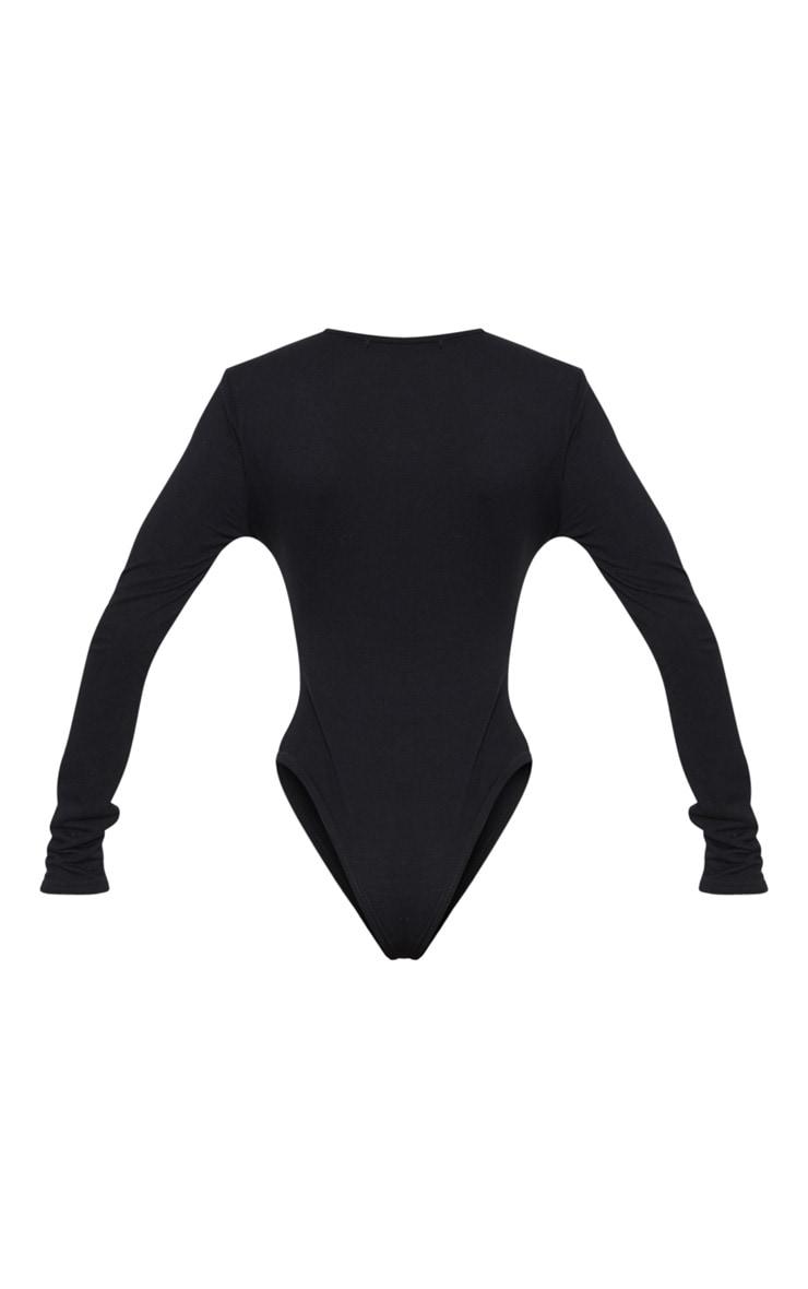 Black Lace Trim Plunge Long Sleeve Bodysuit 4