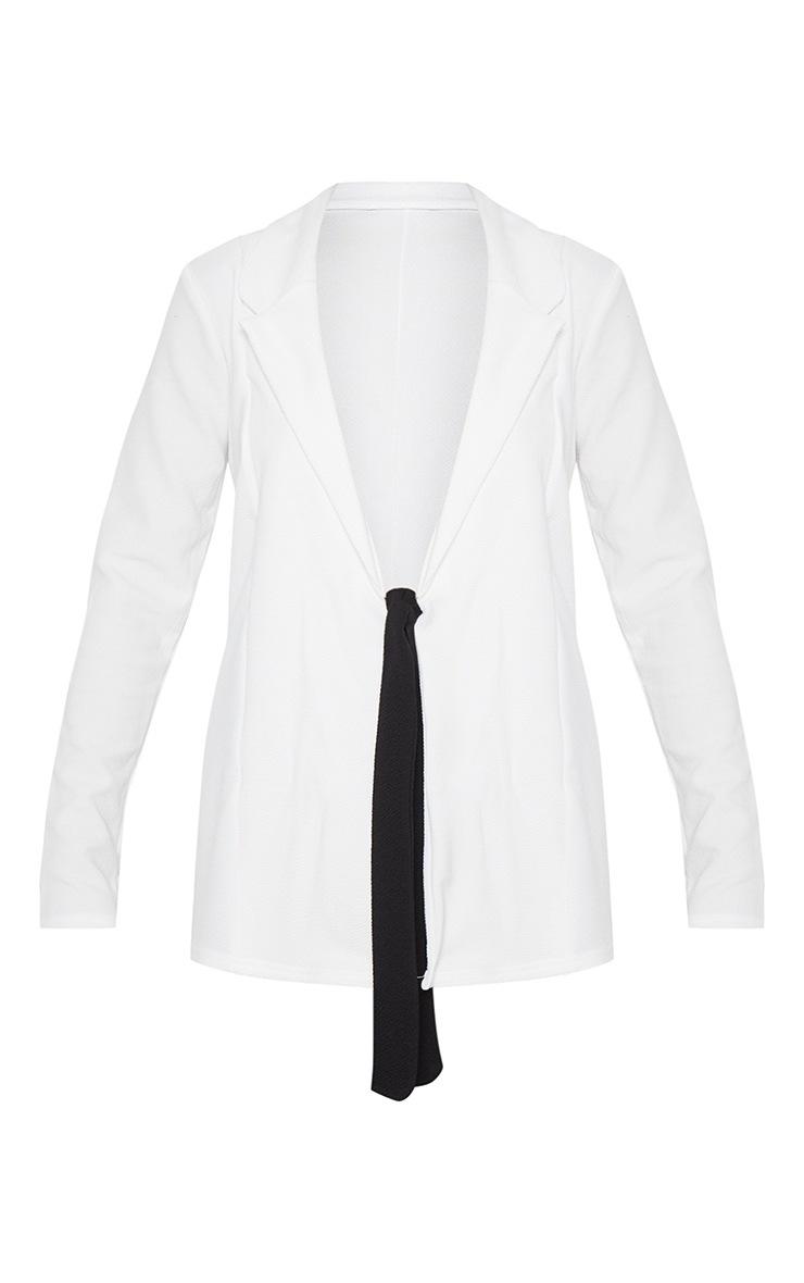 White Contrast Side Tie Blazer  3