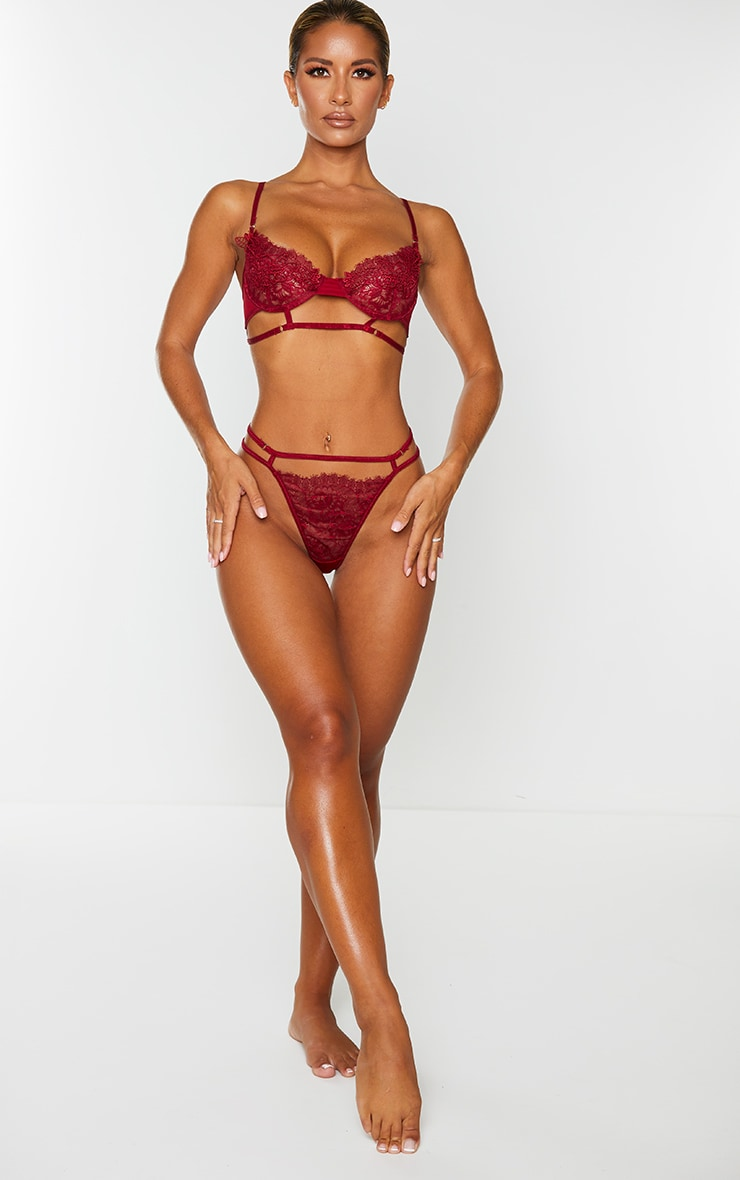Wine Embroidered Lace Detail Strappy Lingerie Set 3