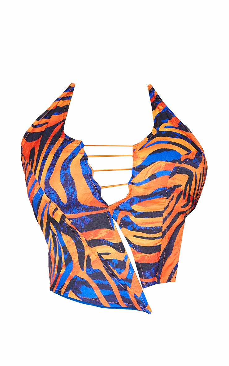 Shape Orange Zebra Print Lace Up Halterneck Crop Top 5