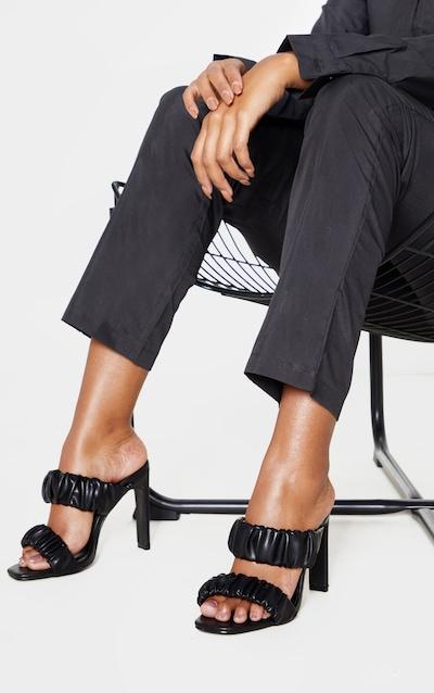Black Ruched Elastic Twin Strap Mule Sandal