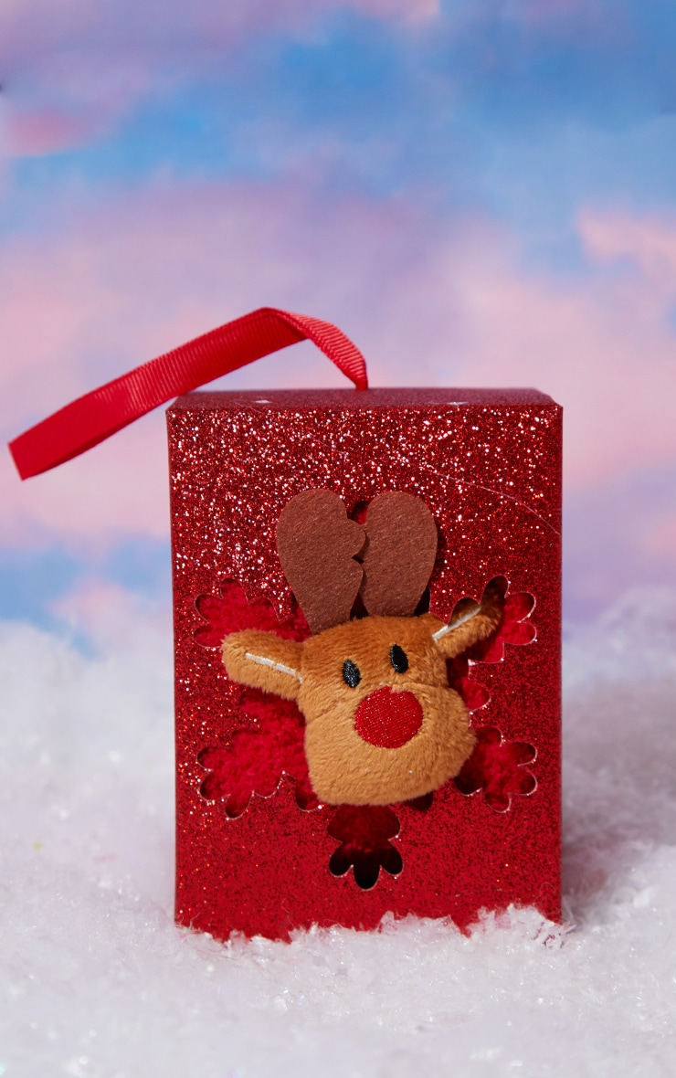 Red Reindeer Sleep Socks In A Box Gift 2