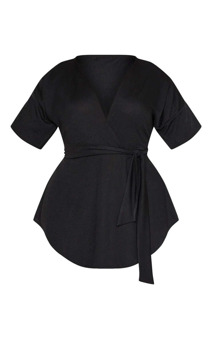 Plus Black Wrap Detail Short Sleeve Top 3