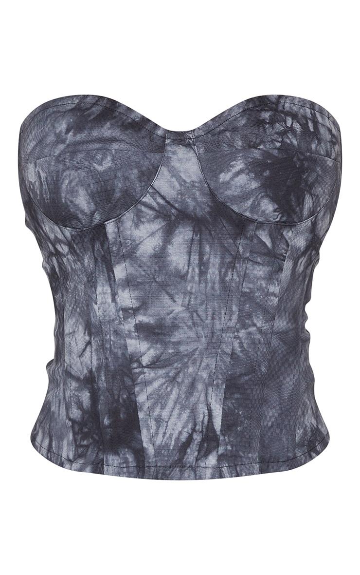 Black Tie Dye Print Woven Corset 5