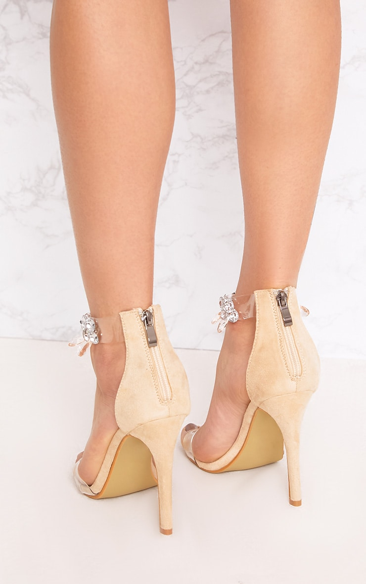 Cream Jewelled Strap Heels 4