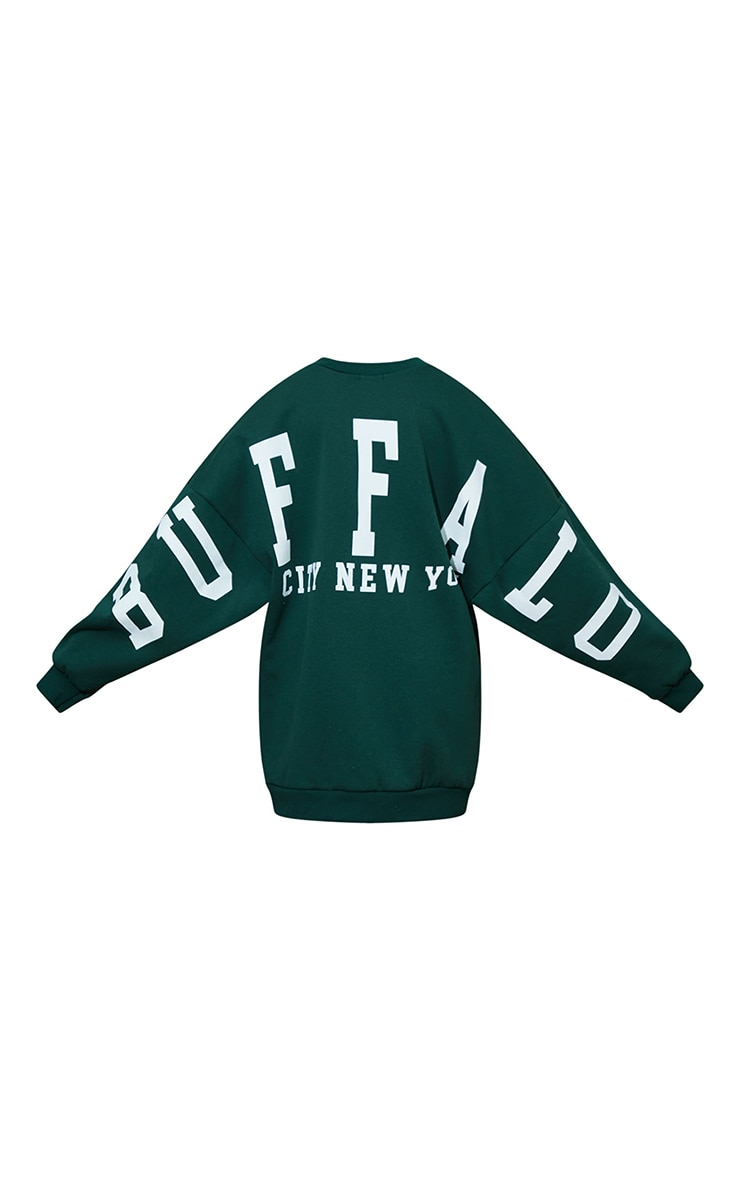 Petite Dark Green Buffalo New York Slogan Sweat Jumper Dress 5