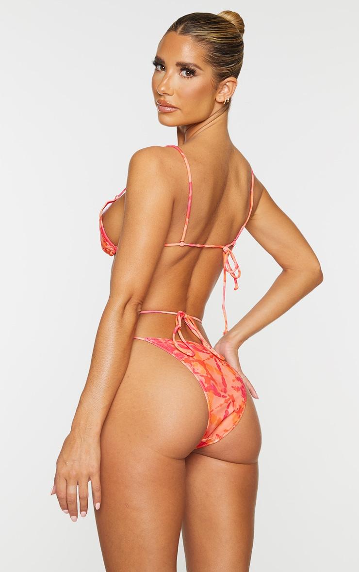 Pink Tie Dye Cut Out Tie Bikini Top 2