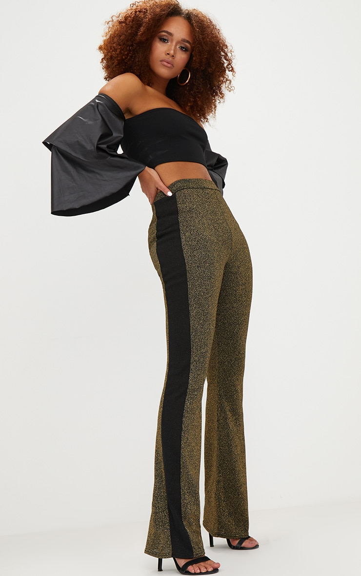 Gold Metallic Track Stripe Kick Flare Trousers 1