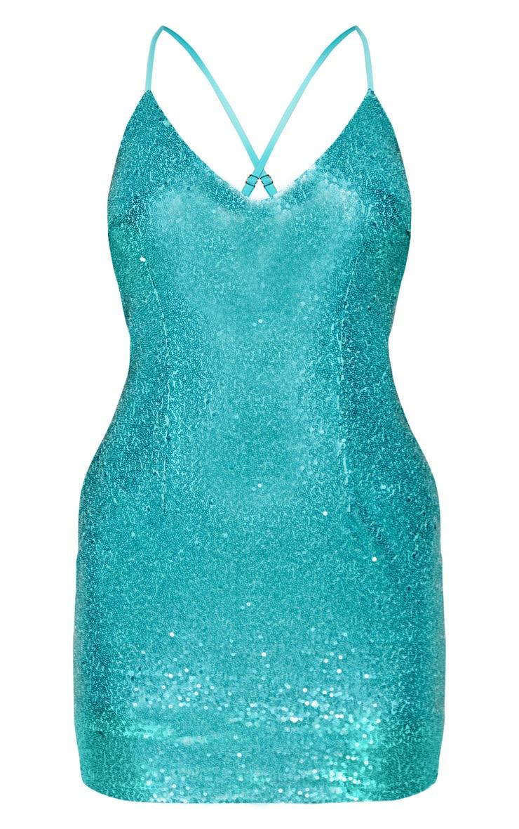 Robe bretelles en sequins bleu turquoise 3